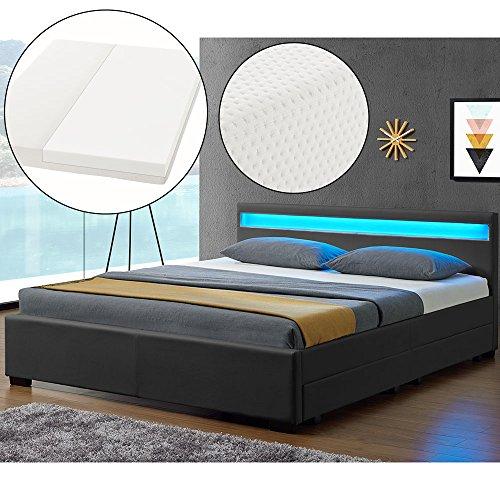 ArtLife LED Polsterbett Lyon 140 x 200 cm mit Bettkasten – Bettgestell inkl. Matratze & Lattenrost - Kunstleder – grau…