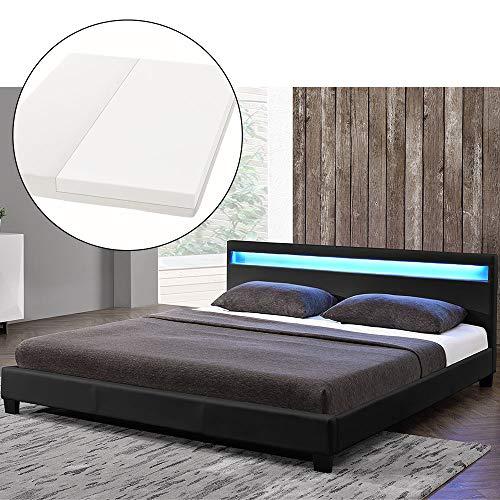 ArtLife LED Polsterbett Paris 140 × 200 cm mit Matratze und Lattenrost – Kunstleder Bezug & Holz Gestell – schwarz…