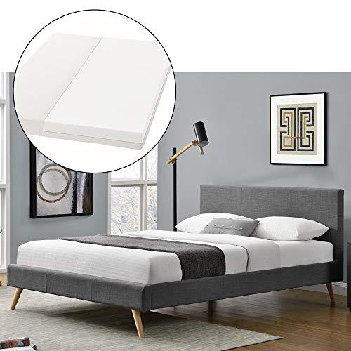 ArtLife Polsterbett Toledo 140 × 200 cm dunkelgrau | Bettrahmen mit Kaltschaummatratze, Lattenrost & Stoff | Jugendbett Gästebett Bett