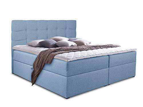 Boxspringbett Best mit 2 Bettkästen, Doppelbett mit Bonell-Matratze und Topper, Polsterbett, Bett, Bettgestell, Stilvoll…