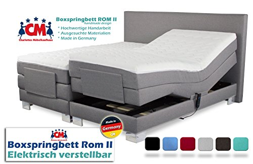 Boxspringbett ROM II elektrisch verstellbar Manufaktur Design. Härtegrad H2 / H3 frei wählbar. Made in Germany. 90x200 | 100x200 | 140x200 | 160x200 | 180x200 | 200x200 cm. Qualität Made in Germany.