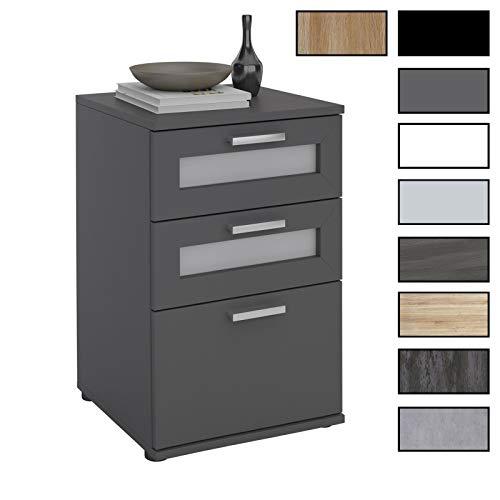 CARO-Möbel Nachttisch für Boxspringebtt Nachtschrank Nachtkommode MARIKE in schwarz, mit 3 Schubladen