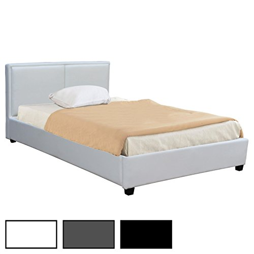 CARO-Möbel Polsterbett Doppelbett Celine schwarz oder weiß, 120 x 200 cm, inklusive Lattenrost Kunstlederbezug