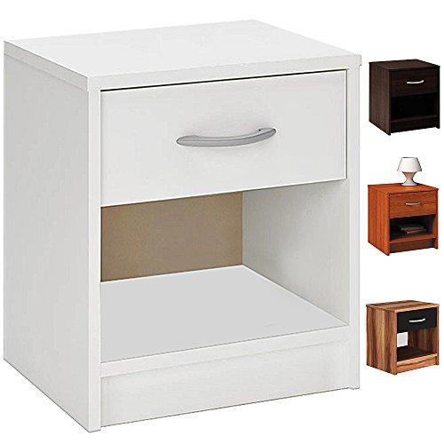 Deuba Nachttisch mit Schublade Ablagefach 50 x 40 x 35 cm Schwarz Braun Nachtschrank Nachtkommode Nachtkonsole Kommode