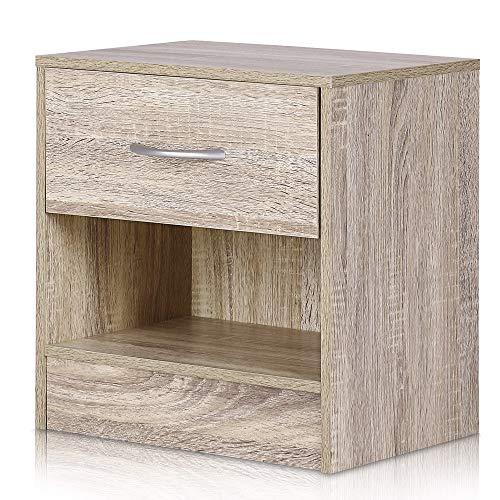 Deuba Nachttisch mit Schublade und Ablagefach 41 x 39 x 28 cm Holz Nachtkommode Nachtkonsole Nachtschrank Schlafzimmer…
