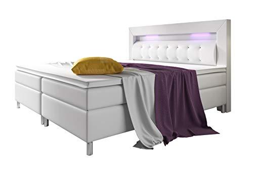Home Collection24 Boxspringbett 180x200 cm mit Bonell Federkernmatratze Topper in H3 Hotelbett Doppelbett LED…