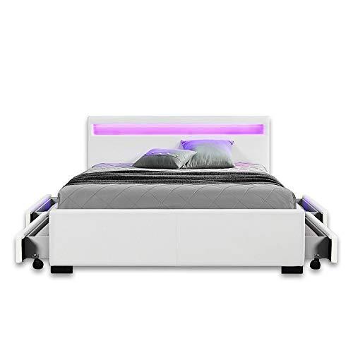 Home Deluxe - LED Bett – Nube weiß - 140 x 200 cm - verschiedene Farben und Größen