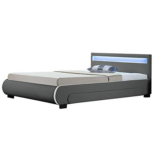 Juskys Polsterbett Bilbao 140x200 cm Bettkasten, LED-Beleuchtung und Lattenrost – Holz und Kunstleder – Bett Bettgestell…