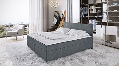 King Boxspringbett 180/200 cm inkl. LED-Beleuchtung Bett Doppelbett Polsterbett Komplettbett Hotelbett Ehebett Stoff…