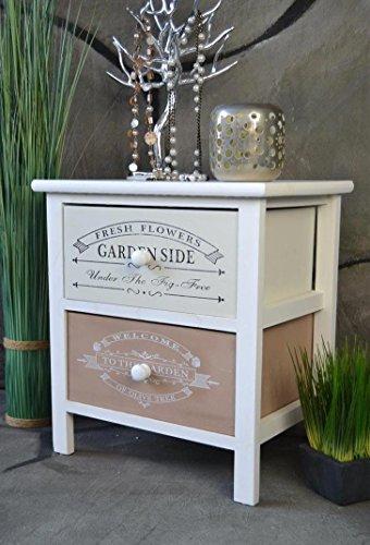 Livitat® Nachttisch Nachtschrank Nachtschränkchen Kommode Shabby Chic Used Vintage Print LV1061