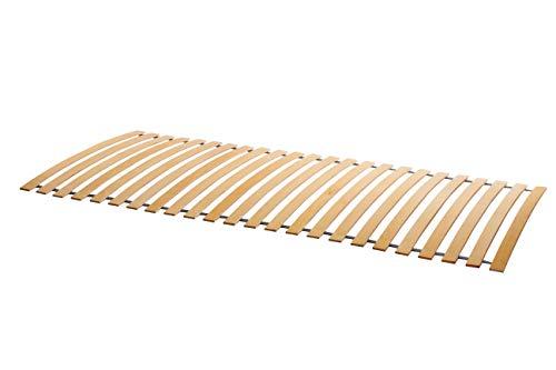 Naturamio Massivholz-Rollrost XXL – 90 x 200cm – Hochwertiger Rolllattenrost aus 23 massiven Leisten aus Hartholz – 350…