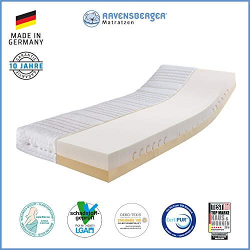 RAVENSBERGER Duo-VISCO® 80 Thermoelastische Premium-Visco-Matratze H2/3 RG 80/50 (50-110kg) Made IN Germany - 10 Jahre…