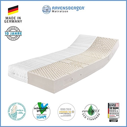 Ravensberger Matratzen® Natur Latexmatratze LATEXCO | 7-Zonen Komfort- Matratze aus Latex H3 RG 65 (80-120 kg) | Made IN…