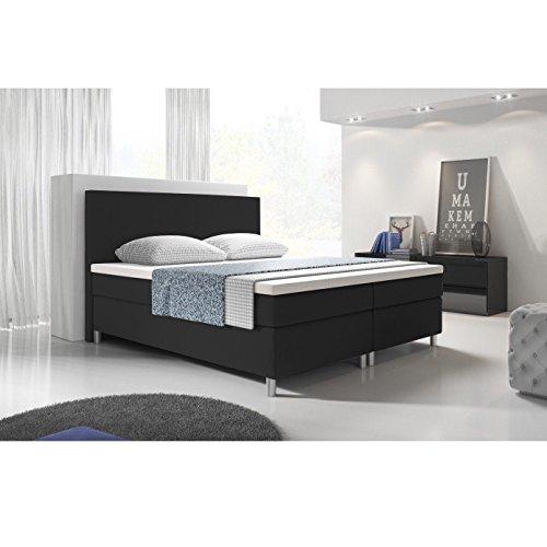 SEDEX Eco Boxspringbett 140x200 / Bett/Doppelbett/Polsterbett/Hotelbett/Kunstleder - schwarz