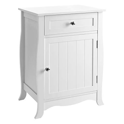SONGMICS Beistelltisch weiß, Nachttisch, Beistellschrank mit Schublade, Nachtschrank aus MDF, großer Stauraum, einfacher Aufbau LET02WT