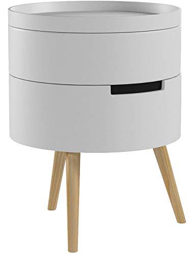 WOLTU Beistelltisch TS50gr-1 Nachttisch Nachtkommode Nachtschrank Sofatisch, mit Stauraum, mit Beinen, Holz, MDF, Grau…