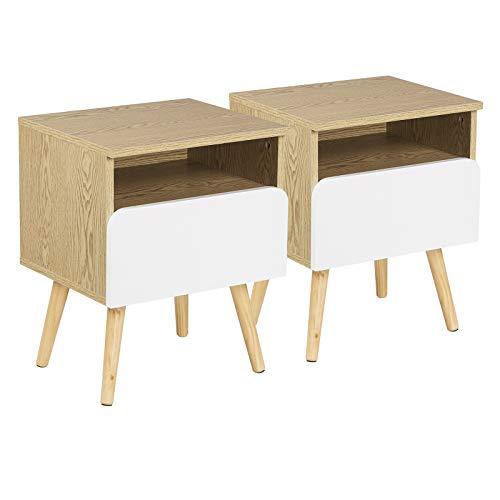 WOLTU® Nachttisch 2er Set Nachtkommode Nachtschrank Beistelltisch Sofatisch, mit Schublade und Offenem Fach, mit Beinen, Holz, 40x33,5x50cm(BxTxH), TSR58-2