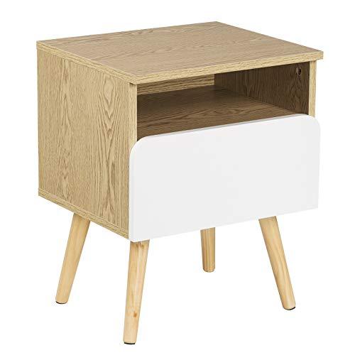 WOLTU® Nachttisch TSR58gr Nachtkommode Nachtschrank Beistelltisch Sofatisch, mit Schublade und Offenem Fach, mit Beinen…