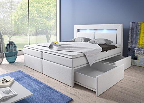 Wohnen-Luxus Boxspringbett 140x200 Weiß mit Bettkasten LED Kopflicht Kunstleder Hotelbett Polsterbett Brüssel (140 x 200…