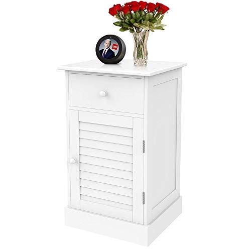 Yaheetech Nachtschrank Kommode Boxspringbett Nachttisch Nachtkommode mit Stauraum 35 x 30 x 60 cm Schlafzimmer Weiß