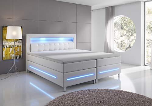 wohnenluxus Boxspringbett 140x200 Grau Florenz LED Hotelbett Kopflicht (Grau, 140 x 200 cm)