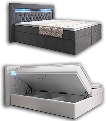 wohnenluxus Boxspringbett 160x200 Grau Samt York Bettkasten Hotelbett Matratze Led Kopflicht Chesterfield