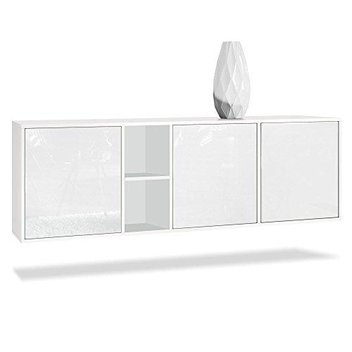 Vladon Sideboard Kommode Cuba, Korpus in Weiß matt/Fronten in Weiß Hochglanz
