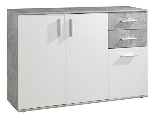 Kommode Sideboard Anrichte | Weiß | Betonoptik | 2 Schubladen | 3 Türe | 120x82x35 cm