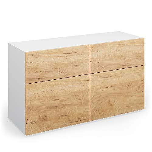 Vicco Sideboard Compo Highboard Anrichte Kommode Mehrzweckschrank (weiß/Eiche)