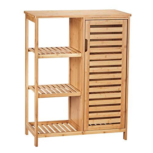 VIAGDO Kommode Sideboard Bambus Küchenschrank mit 3 offenen Ablagen, Badezimmerschrank, Badschrank aus Holz, Beistellschrank, Flurschrank, Küche, Wohnzimmer, Esszimmer, Büro, Badezimmer, Flur